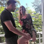 young Latina webcam beauty outdoors with boyfriend